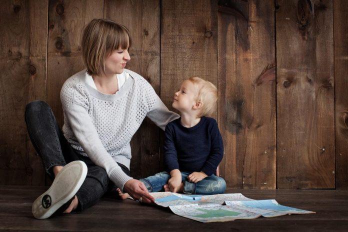 interactive mom teaching kid