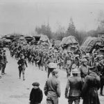 American troops march down a road in France in an undated photo taken during the First World War