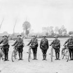 Canadian archive photo shows cyclists of the 2nd Battalion, Canadian Expeditionary Force posing at Scottish Lines near Poperinghe