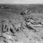 Canadian archive photo shows dead German soldiers lying after a Canadian charge during the Battle of the Somme