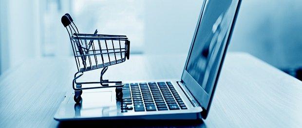 Shopping cart on laptop