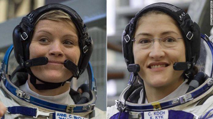 woman spacewalkers astronauts mcclain koch 1