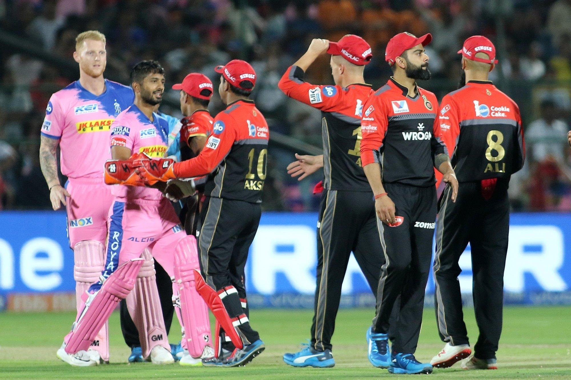 Jaipur: Rajasthan Royals' Ben Stokes and Rahul Tripathi celebrate after wining the 14th IPL 2019 match against Royal Challengers Bangalore at Sawai Mansingh Stadium in Jaipur on April 2, 2019. (Photo: IANS)