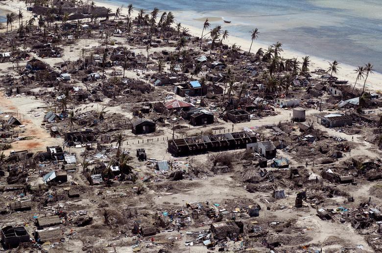 Buildings damage Cyclone Kenneth