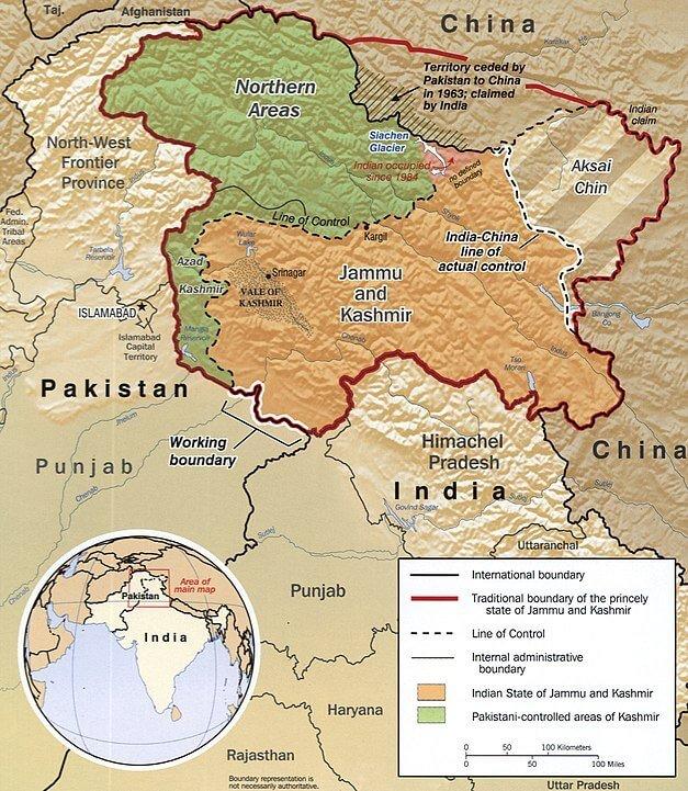 LOC LAC Kashmir ladakh China Pakistan India Map