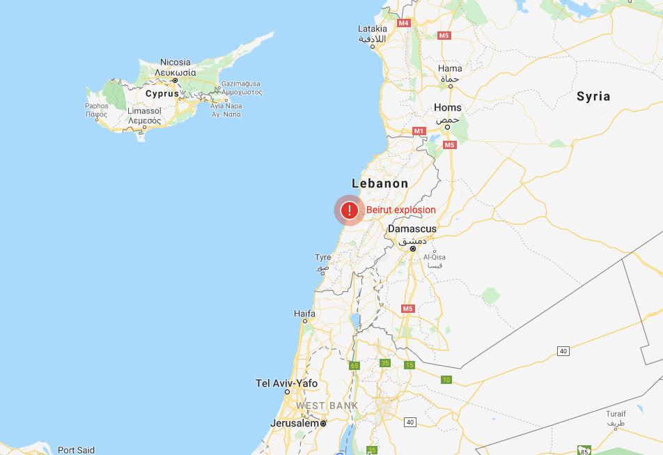 lebanon beirut explosion map