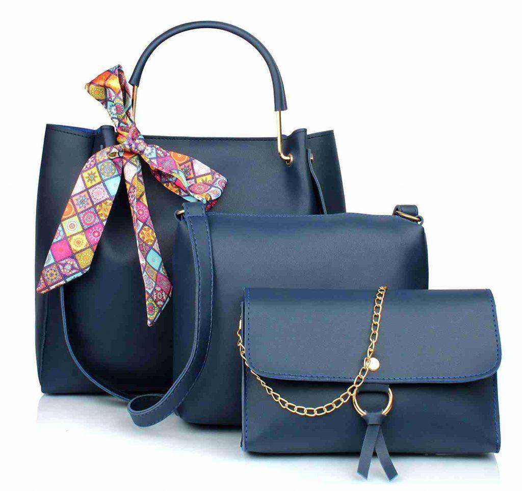 11 Mammon Womens Blue PU Leather Handbag Combo